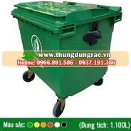 Thùng rác nhựa HDPE 1100 lít bánh xe