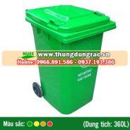 Thùng rác nhựa HDPE 360 lít bánh xe