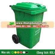 Thùng rác nhựa HDPE 80 lít bánh xe